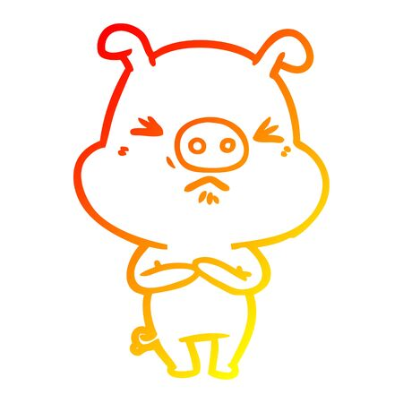 warm gradient line drawing of a cartoon angry pig