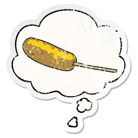 cartoon hotdog on a stick with thought bubble as a distressed worn sticker  イラスト・ベクター素材