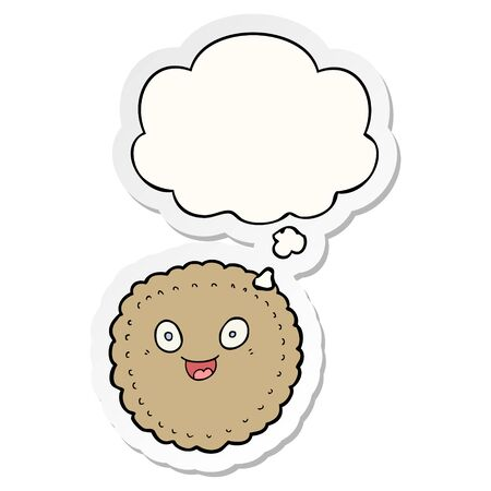 cartoon biscuit with thought bubble as a printed sticker