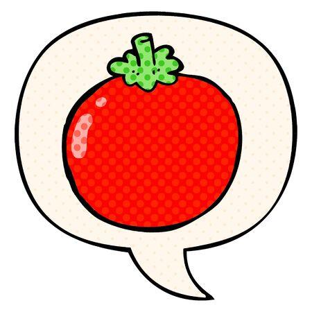 cartoon tomato with speech bubble in comic book style Ilustracja