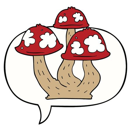 cartoon mushrooms with speech bubble Ilustração