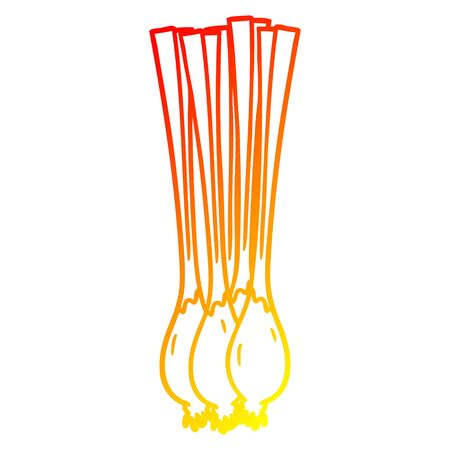 warm gradient line drawing of a cartoon spring onions 일러스트