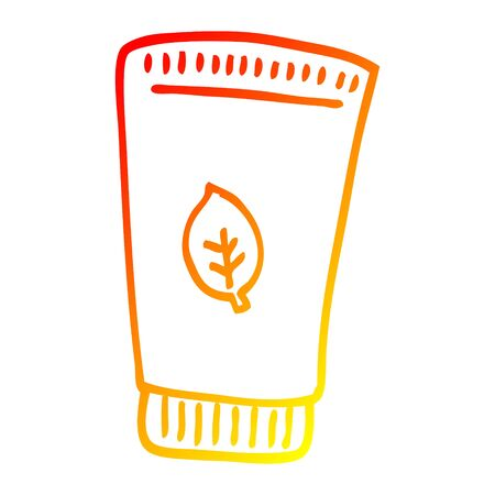 warm gradient line drawing of a cartoon skin lotion