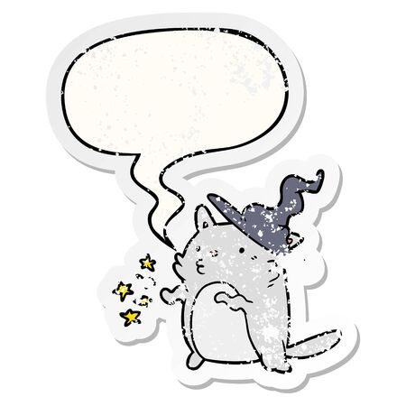 magical amazing cartoon cat wizard with speech bubble distressed distressed old sticker