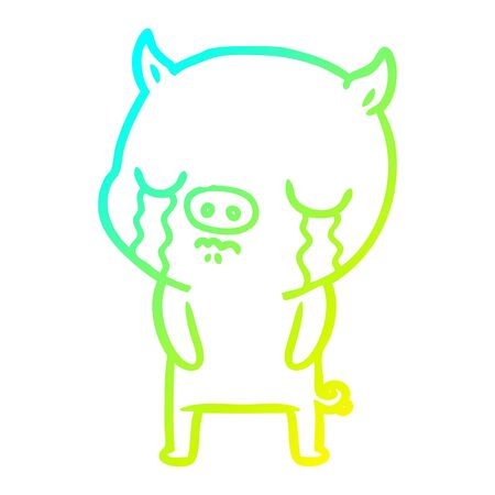 cold gradient line drawing of a cartoon pig crying Ilustrace
