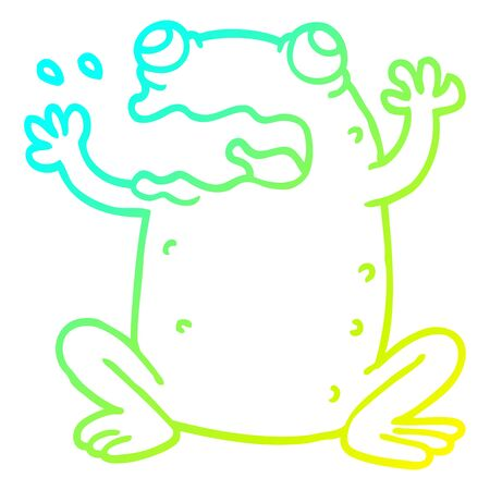 cold gradient line drawing of a cartoon burping toad