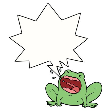cartoon frog shouting with speech bubble