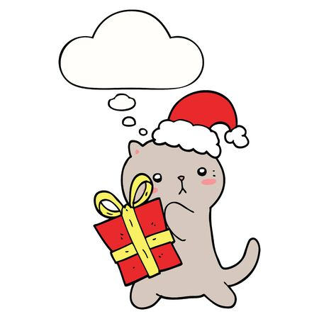 cute cartoon cat carrying christmas present with thought bubble