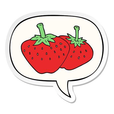 cartoon strawberry with speech bubble sticker