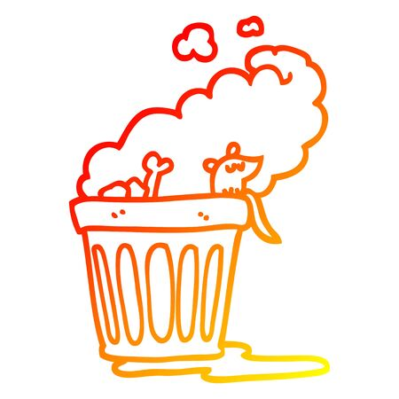 warm gradient line drawing of a cartoon smelly garbage can