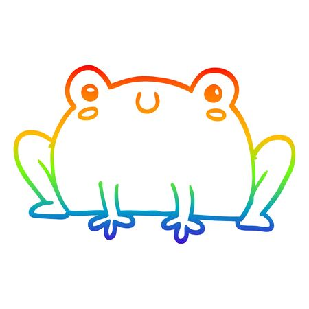rainbow gradient line drawing of a cartoon frog Illustration