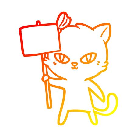 warm gradient line drawing of a cute cartoon cat with protest sign