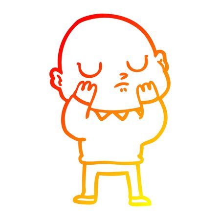 warm gradient line drawing of a cartoon bald man