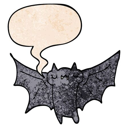 cute cartoon halloween bat with speech bubble in retro texture style