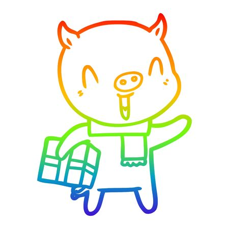 rainbow gradient line drawing of a happy cartoon pig with xmas present