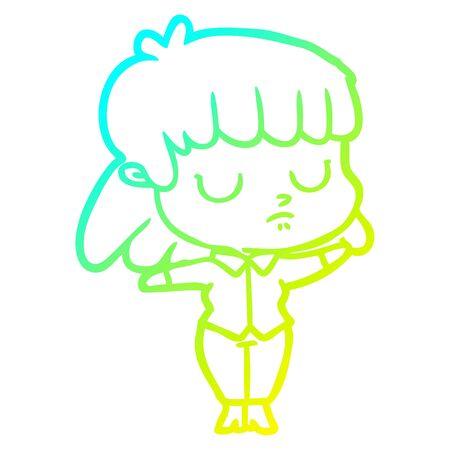 cold gradient line drawing of a cartoon indifferent woman Ilustração