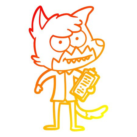 warm gradient line drawing of a cartoon grinning fox with clipboard Illustration