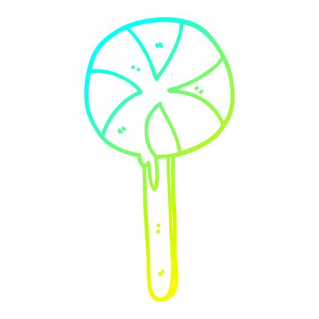 cold gradient line drawing of a cartoon lollipop