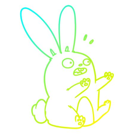 cold gradient line drawing of a cartoon startled rabbit  イラスト・ベクター素材