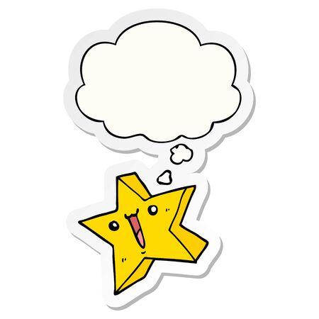 cartoon happy star with thought bubble as a printed sticker Illusztráció