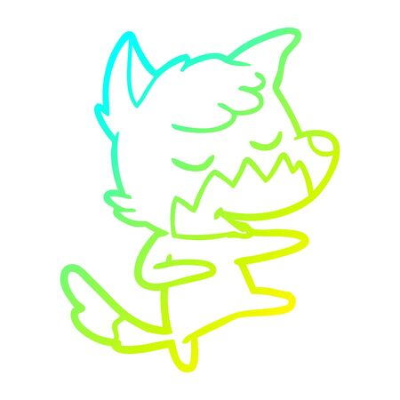 cold gradient line drawing of a friendly cartoon fox dancing Illustration