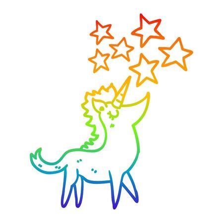 rainbow gradient line drawing of a cartoon unicorn