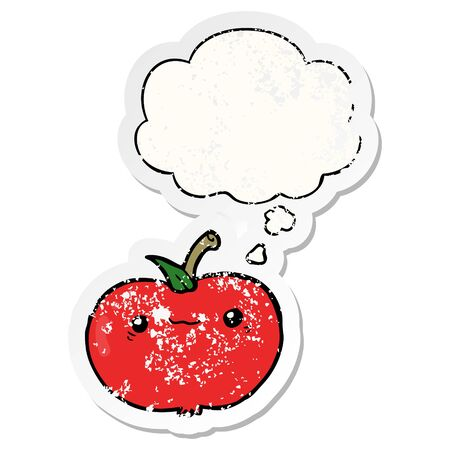cartoon apple with thought bubble as a distressed worn sticker