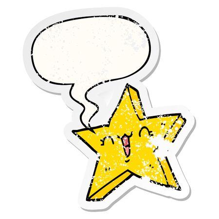 cute cartoon star with speech bubble distressed distressed old sticker Illusztráció