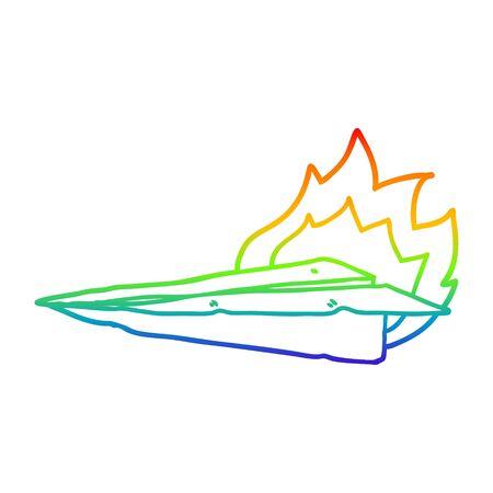 rainbow gradient line drawing of a cartoon burning paper airplane Stock fotó - 129798033
