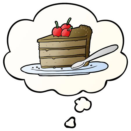 cartoon chocolate cake with thought bubble in smooth gradient style