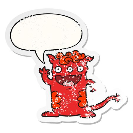 cartoon halloween monster with speech bubble distressed distressed old sticker Illusztráció