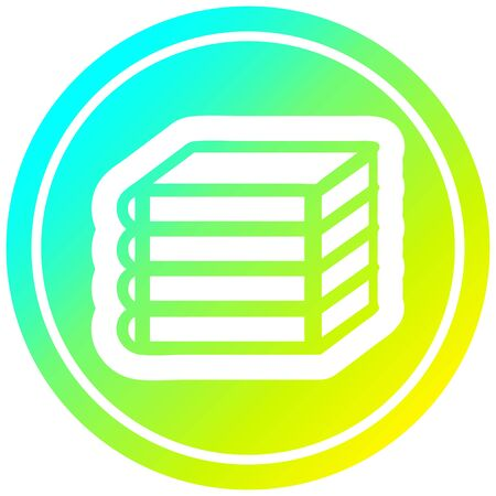 stack of books circular icon with cool gradient finish