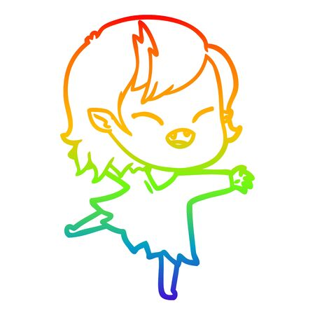 rainbow gradient line drawing of a cartoon laughing vampire girl 向量圖像