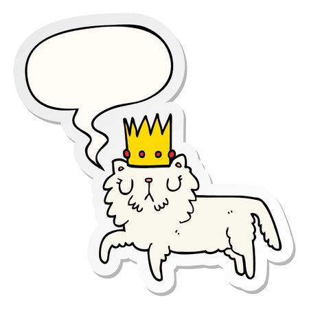 cartoon cat wearing crown with speech bubble sticker