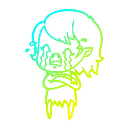 cold gradient line drawing of a cartoon crying vampire girl