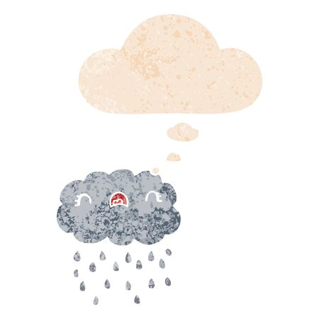 cute cartoon cloud with thought bubble in grunge distressed retro textured style Ilustração
