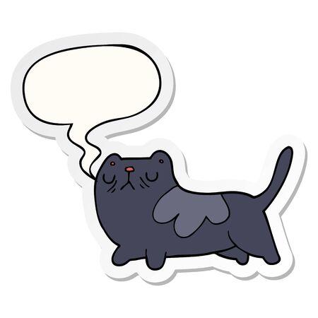 cartoon cat with speech bubble sticker Illusztráció