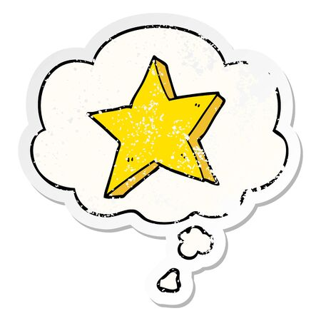 cartoon star with thought bubble as a distressed worn sticker