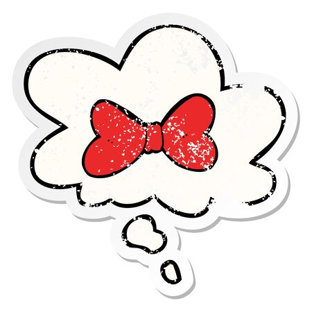 cartoon bow tie with thought bubble as a distressed worn sticker