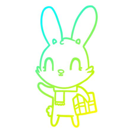 cold gradient line drawing of a cute cartoon rabbit with christmas present