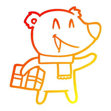 warm gradient line drawing of a laughing christmas bear cartoon