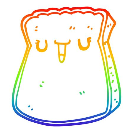 rainbow gradient line drawing of a cartoon slice of bread