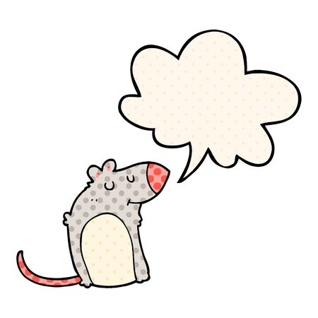 cartoon fat rat with speech bubble in comic book style