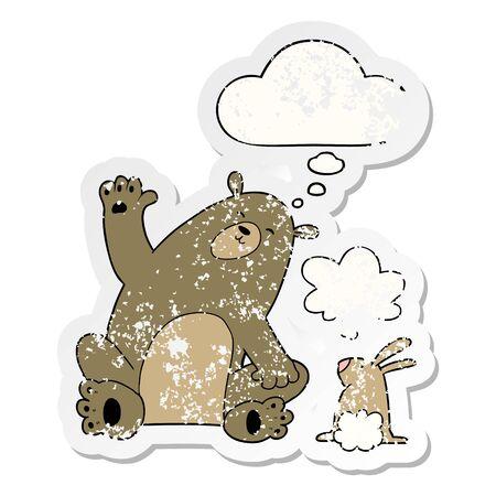 cartoon bear and rabbit friends with thought bubble as a distressed worn sticker Illusztráció