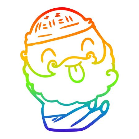 rainbow gradient line drawing of a sitting man with beard sticking out tongue