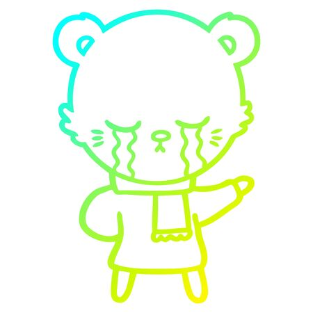 cold gradient line drawing of a crying cartoon bear wearing winter clothes