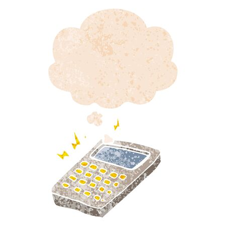 cartoon calculator with thought bubble in grunge distressed retro textured style