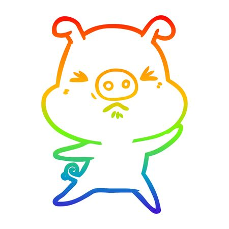 rainbow gradient line drawing of a cartoon angry pig Ilustrace