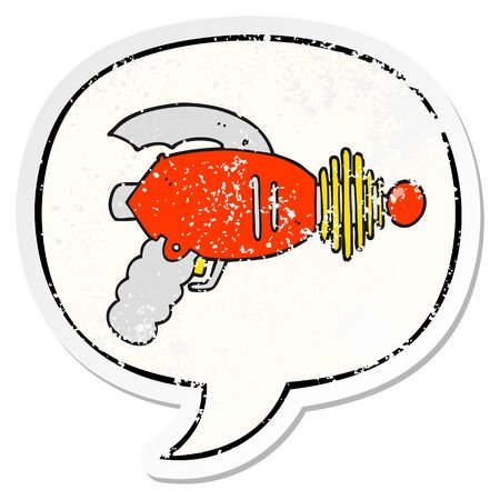 cartoon ray gun with speech bubble distressed distressed old sticker