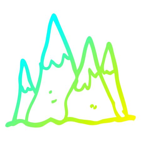 cold gradient line drawing of a cartoon tall mountains